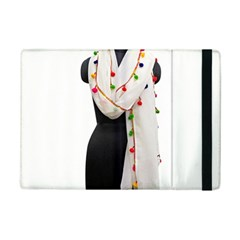 Indiahandycrfats Women Fashion White Dupatta With Multicolour Pompom All Four Sides For Girls/women Ipad Mini 2 Flip Cases by Indianhandycrafts