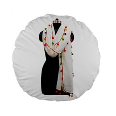 Indiahandycrfats Women Fashion White Dupatta With Multicolour Pompom All Four Sides For Girls/women Standard 15  Premium Flano Round Cushions by Indianhandycrafts