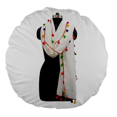 Indiahandycrfats Women Fashion White Dupatta With Multicolour Pompom All Four Sides For Girls/women Large 18  Premium Flano Round Cushions by Indianhandycrafts