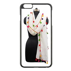Indiahandycrfats Women Fashion White Dupatta With Multicolour Pompom All Four Sides For Girls/women Apple Iphone 6 Plus/6s Plus Black Enamel Case by Indianhandycrafts