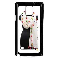 Indiahandycrfats Women Fashion White Dupatta With Multicolour Pompom All Four Sides For Girls/women Samsung Galaxy Note 4 Case (black) by Indianhandycrafts