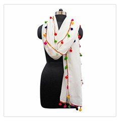 Indiahandycrfats Women Fashion White Dupatta With Multicolour Pompom All Four Sides For Girls/women Large Satin Scarf (square) by Indianhandycrafts