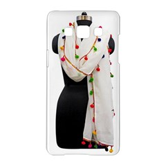Indiahandycrfats Women Fashion White Dupatta With Multicolour Pompom All Four Sides For Girls/women Samsung Galaxy A5 Hardshell Case  by Indianhandycrafts