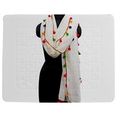 Indiahandycrfats Women Fashion White Dupatta With Multicolour Pompom All Four Sides For Girls/women Jigsaw Puzzle Photo Stand (rectangular) by Indianhandycrafts
