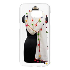 Indiahandycrfats Women Fashion White Dupatta With Multicolour Pompom All Four Sides For Girls/women Samsung Galaxy S7 Edge Hardshell Case by Indianhandycrafts