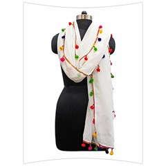 Indiahandycrfats Women Fashion White Dupatta With Multicolour Pompom All Four Sides For Girls/women Back Support Cushion by Indianhandycrafts