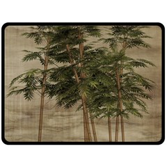 Vintage Bamboo Trees Fleece Blanket (large)  by snowwhitegirl