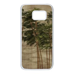 Vintage Bamboo Trees Samsung Galaxy S7 White Seamless Case by snowwhitegirl