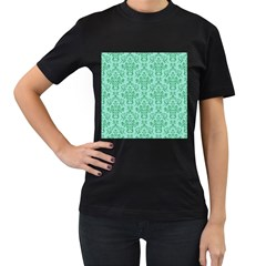 Victorian Teal Ornamental Women s T Shirt (black) (two Sided) by snowwhitegirl