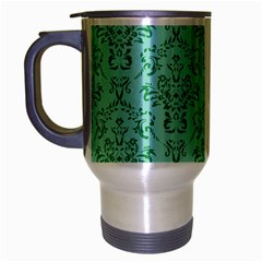 Victorian Teal Ornamental Travel Mug (silver Gray) by snowwhitegirl