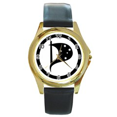 Logo Of Pirate Party Australia Round Gold Metal Watch by abbeyz71