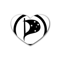 Logo Of Pirate Party Australia Rubber Coaster (heart)  by abbeyz71