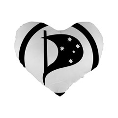 Logo Of Pirate Party Australia Standard 16  Premium Heart Shape Cushions by abbeyz71