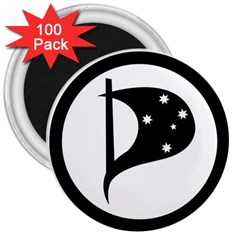 Logo Of Pirate Party Australia 3  Magnets (100 Pack) by abbeyz71