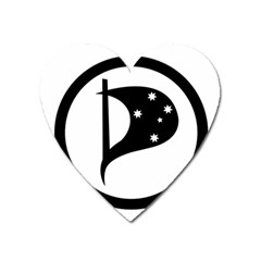 Logo Of Pirate Party Australia Heart Magnet by abbeyz71