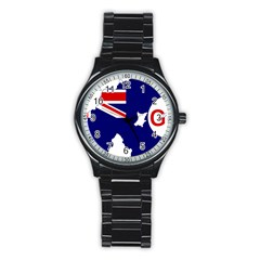 Flag Map Of Government Ensign Of Northern Ireland, 1929 1973 Stainless Steel Round Watch