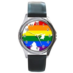 Lgbt Flag Map Of Northern Ireland Round Metal Watch
