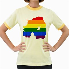 Lgbt Flag Map Of Northern Ireland Women s Fitted Ringer T Shirt