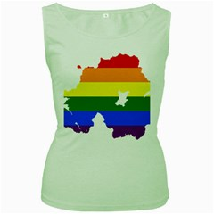 Lgbt Flag Map Of Northern Ireland Women s Green Tank Top