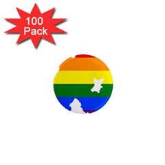 Lgbt Flag Map Of Northern Ireland 1  Mini Magnets (100 Pack)