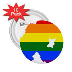 Lgbt Flag Map Of Northern Ireland 2 25  Buttons (10 Pack)