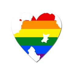 Lgbt Flag Map Of Northern Ireland Heart Magnet by abbeyz71