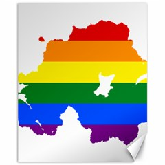 Lgbt Flag Map Of Northern Ireland Canvas 11  X 14  by abbeyz71