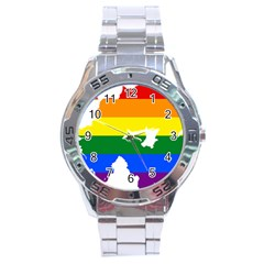 Lgbt Flag Map Of Northern Ireland Stainless Steel Analogue Watch