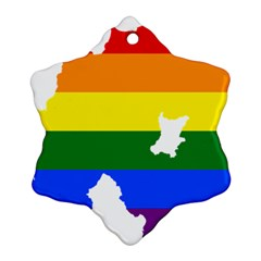 Lgbt Flag Map Of Northern Ireland Ornament (snowflake)