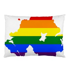 Lgbt Flag Map Of Northern Ireland Pillow Case (two Sides)