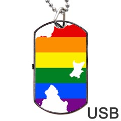 Lgbt Flag Map Of Northern Ireland Dog Tag Usb Flash (two Sides)