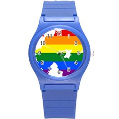 Lgbt Flag Map Of Northern Ireland Round Plastic Sport Watch (s)