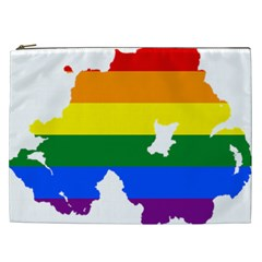Lgbt Flag Map Of Northern Ireland Cosmetic Bag (xxl)