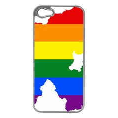 Lgbt Flag Map Of Northern Ireland Apple Iphone 5 Case (silver)