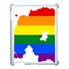 Lgbt Flag Map Of Northern Ireland Apple Ipad 3/4 Case (white) by abbeyz71