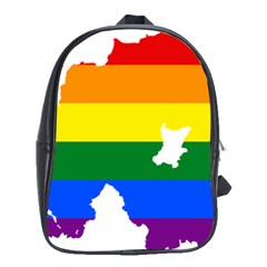 Lgbt Flag Map Of Northern Ireland School Bag (xl)