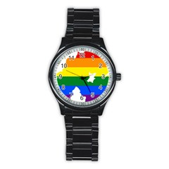 Lgbt Flag Map Of Northern Ireland Stainless Steel Round Watch