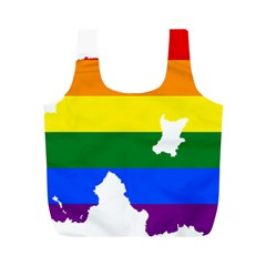 Lgbt Flag Map Of Northern Ireland Full Print Recycle Bag (m)