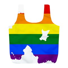 Lgbt Flag Map Of Northern Ireland Full Print Recycle Bag (l)