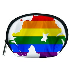 Lgbt Flag Map Of Northern Ireland Accessory Pouch (medium)