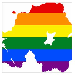 Lgbt Flag Map Of Northern Ireland Large Satin Scarf (square)