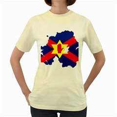 Ulster Nationalists Flag Map Of Northern Ireland Women s Yellow T Shirt