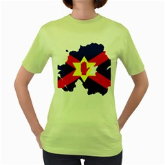 Ulster Nationalists Flag Map Of Northern Ireland Women s Green T Shirt