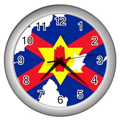 Ulster Nationalists Flag Map Of Northern Ireland Wall Clock (silver)
