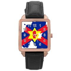 Ulster Nationalists Flag Map Of Northern Ireland Rose Gold Leather Watch