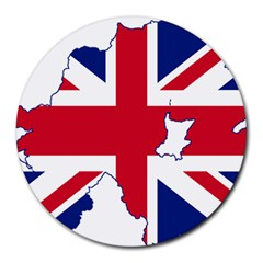 Union Jack Flag Map Of Northern Ireland Round Mousepads