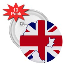 Union Jack Flag Map Of Northern Ireland 2 25  Buttons (10 Pack)  by abbeyz71