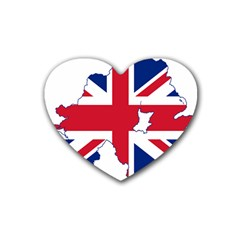 Union Jack Flag Map Of Northern Ireland Heart Coaster (4 Pack)  by abbeyz71