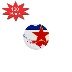 Flag Map Of Socialist Federal Republic Of Yugoslavia 1  Mini Buttons (100 Pack)  by abbeyz71