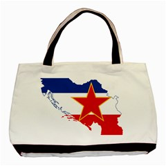 Flag Map Of Socialist Federal Republic Of Yugoslavia Basic Tote Bag (two Sides)